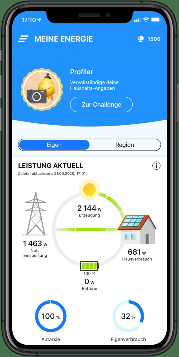 Sieh den Stromverbrauch deines Hauses und die Energieproduktion deiner Erzeugungsanlage